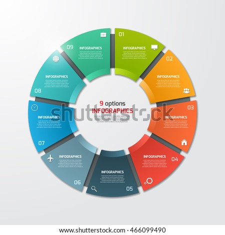 Shutterstock Pie chart circle infographic template with 9 options. Business concept. Vector illustration.