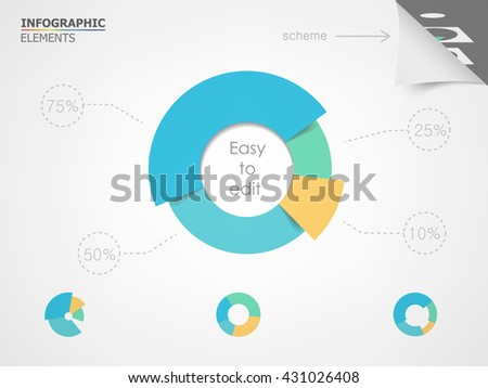 Pie chart. Elements for infographic presentation templates leaflet, annual report, brochure, layout and flyer design. Easy to edit and use.
