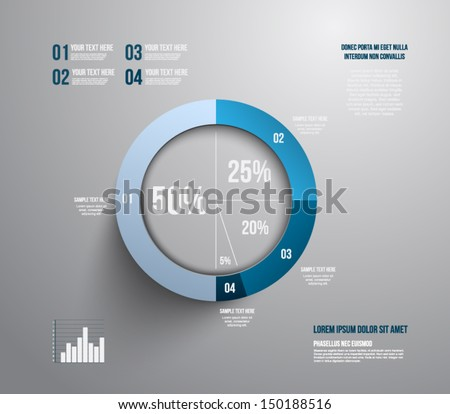 Pie chart graphic template for business design, infographics, reports, progress, websites, step presentation or workflow layout. Clean and modern style