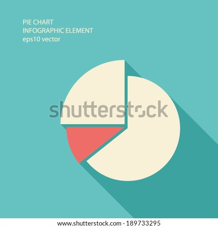 Pie chart infographic element in modern flat design with long shadows suitable for presentations, reports, etc. Eps10 vector illustration.