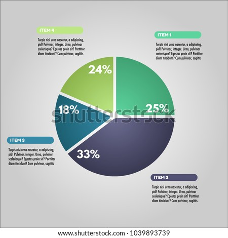 Pie Chart Infographic Illustration Vector. Perfect for Graphic design, Web Design, Project Reports and Presentations.