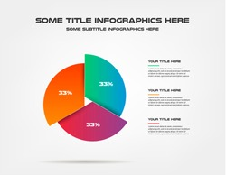Pie chart of percentage infographics. Element of graph, diagram with 3 options - parts, processes, timeline. Vector business template for presentation, workflow layout, annual report