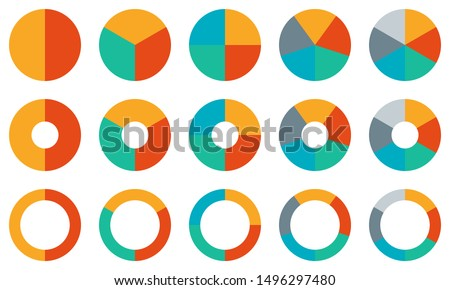 Pie chart set. Colorful diagram collection with 2,3,4,5,6 sections or steps. Circle icons for infographic, UI, web design, business presentation. Vector illustration. ストックフォト ©