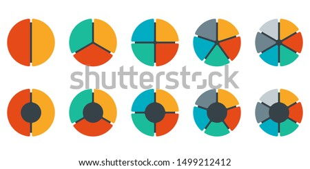 Pie chart set. Colorful diagram collection with 2,3,4,5,6 sections or steps. Circle icons for infographic, UI, web design, business presentation. Vector illustration.