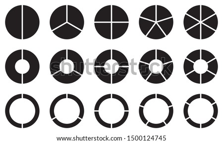 Pie chart set. Diagram collection with 2,3,4,5,6 sections or steps. Circle icons for infographic, UI, web design, business presentation. Vector illustration.