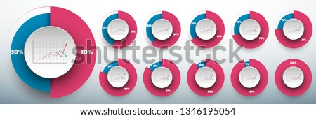 Pie chart set from 50/50 to 100 percents ready to use for web design, user interface (UI) or infographic. Two colors - rose and blue Foto stock ©