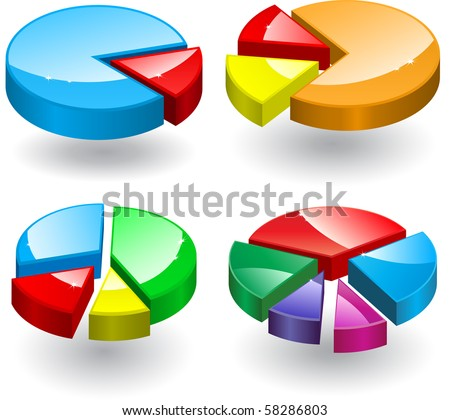 Pie charts with different number of parts. Vector.