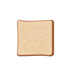 Piece of bread. Toast for sandwich isolated. Slice of integral flour bread. Whole wheat bagel. Whole grain seeded healthy food for breakfast, lunch, dinner. Vector illustration, flat style, clip art.