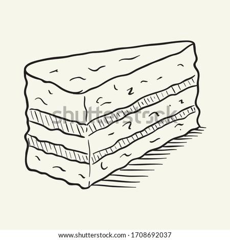 Piece of cake. Hand drawn vector illustration.