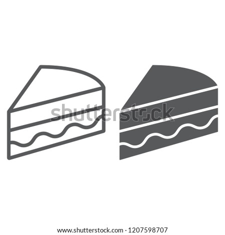 Piece of cake line and glyph icon, sweet and food, pie sign, vector graphics, a linear pattern on a white background, eps 10.
