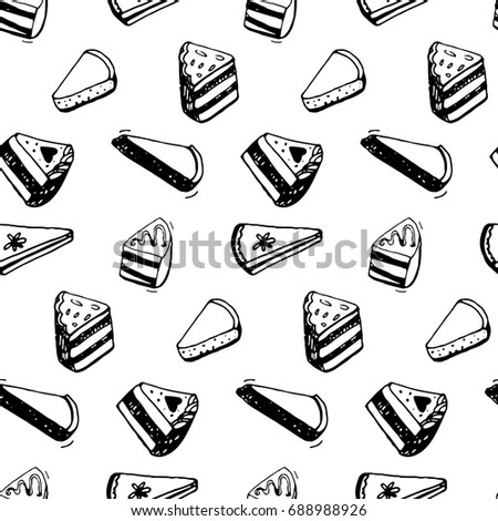 Piece of cake pattern. Black ink sketch drawing of desserts. Seamless background.