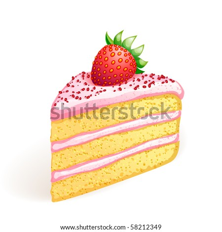 Piece of cake with strawberry. EPS10 vector.