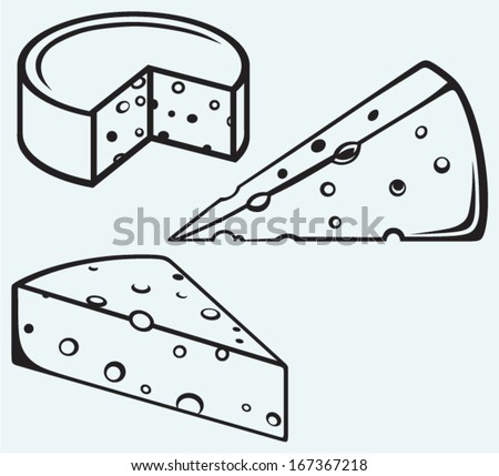 Piece of cheese isolated on blue background