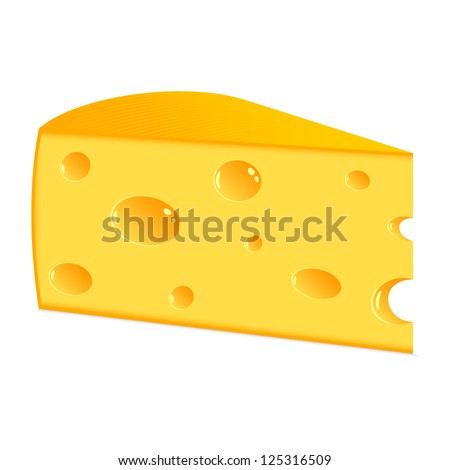 Piece of cheese. The isolated object on a white background. EPS-8.