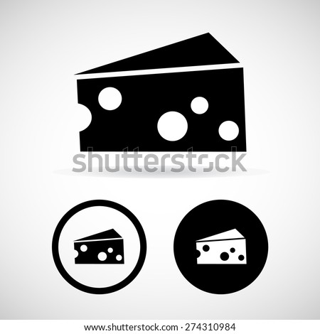 Piece of cheese. The isolated object on a white background, Vector illustration