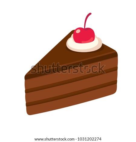 Piece of layered chocolate cake with maraschino cherry. Hand drawn cake slice isolated illustration.