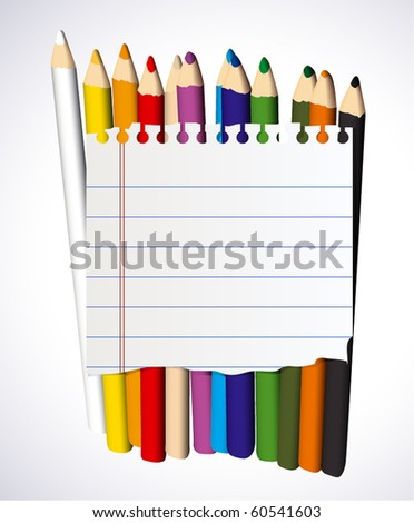 Piece of lined paper over crayons