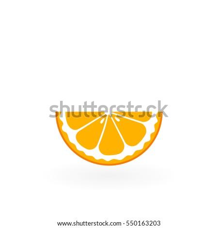 piece of orange isolated on