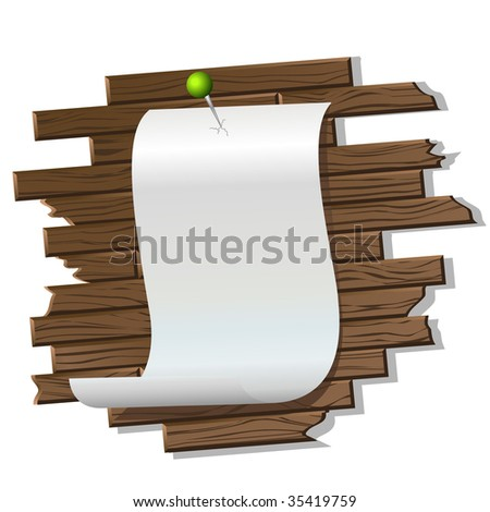 piece of paper on the wood