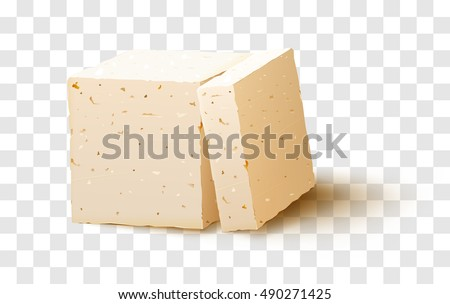 piece of tofu on transparent