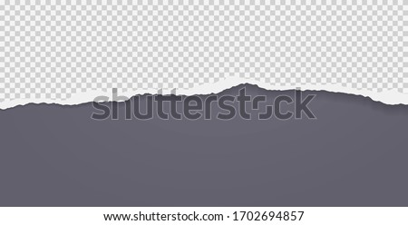 Piece of torn squared horizontal paper with soft shadow stuck on black background. Vector illustration Foto d'archivio ©
