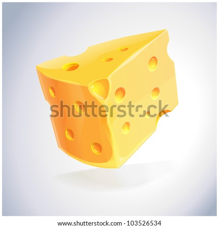 piece of yellow porous cheese food with holes - vector illustration