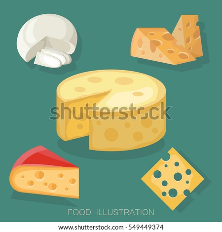 Pieces of cheese collection on green background. Different cheese types in flat style realistic vector illustration.
