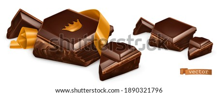 Pieces of chocolate with gold. 3d vector realistic objects