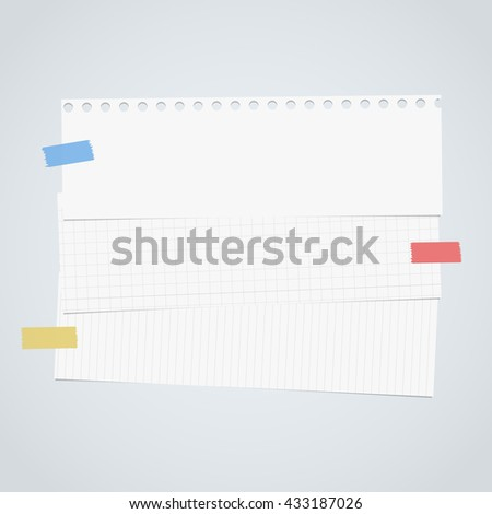 Pieces of cut white squared, lined notebook paper are stacked on gray background