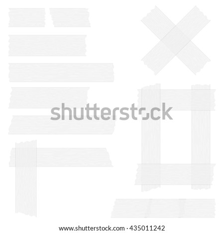 Pieces of grey transparent adhesive tape on white background, sticky tape, vector eps10 illustration