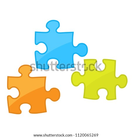Pieces of jigsaw puzzle game -  motley components of puzzles