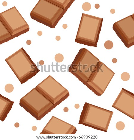 Pieces of milk and dark chocolate on seamless background