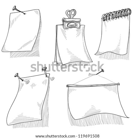 Pieces of paper for text, sketch vector
