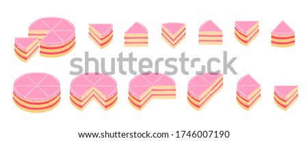 Pieces of pink cake infographics. The whole cake and its parts. Jam cream red topping jelly. Isometric view vector illustration.