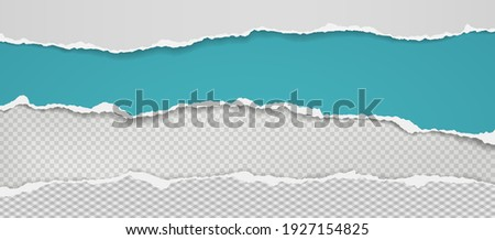 Pieces of torn, ripped white and turquoise paper with soft shadow are on squared, transparent background for text. Vector illustration