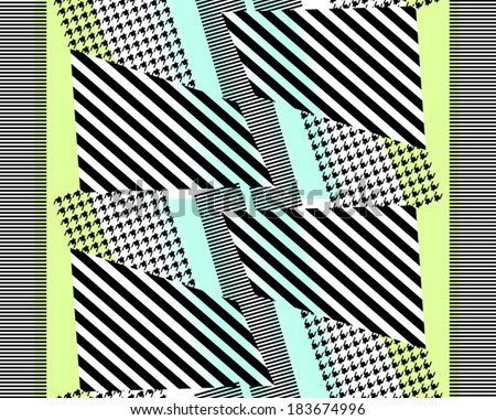 Pied de poule patterned and striped patterned fabric print design.