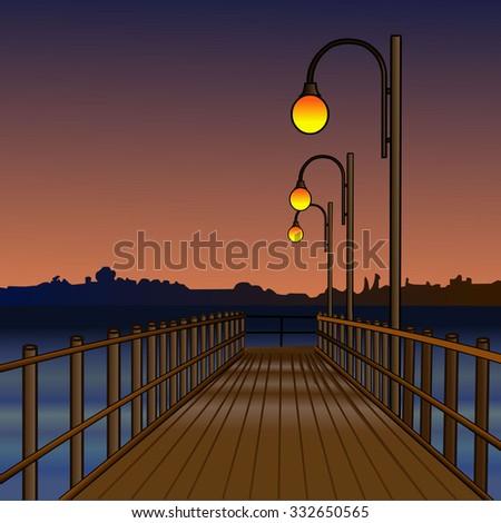 pier at night pier illuminated