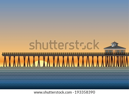 pier with sunset is an