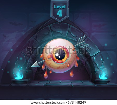 Pierced eye in next 4th level. For web, video games, user interface, design