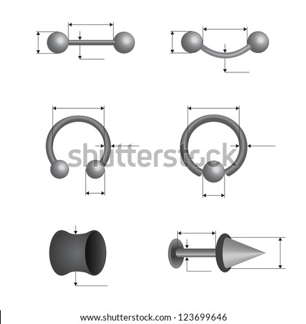 piercing set on white background