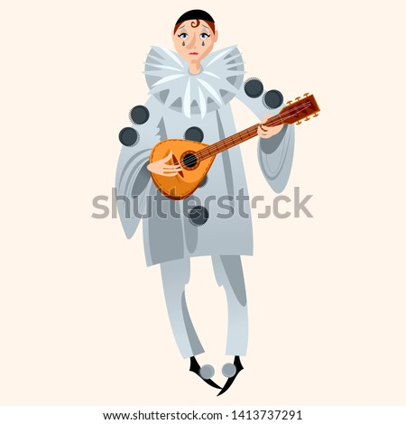 Pierrot playing mandolin. Сharacter of the Italian commedia dell'arte. Vector illustration.