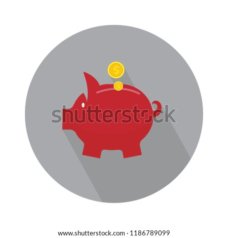 pig bank flat icon. money save concept - finance & investment symbol