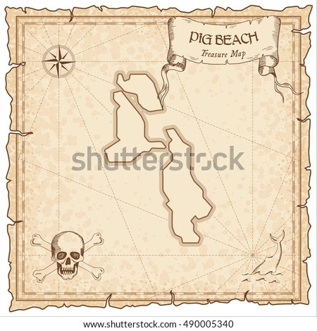 pig beach old pirate map sepia