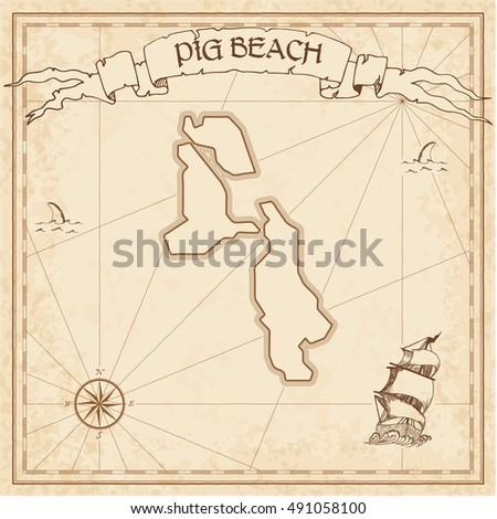 pig beach old treasure map