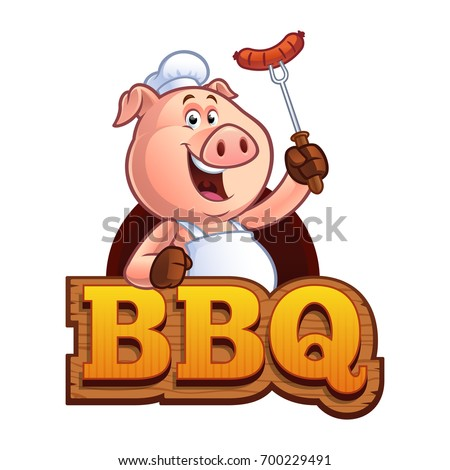 pig chef holding a sausage on