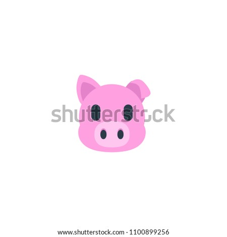 Pig Face Vector Flat Icon