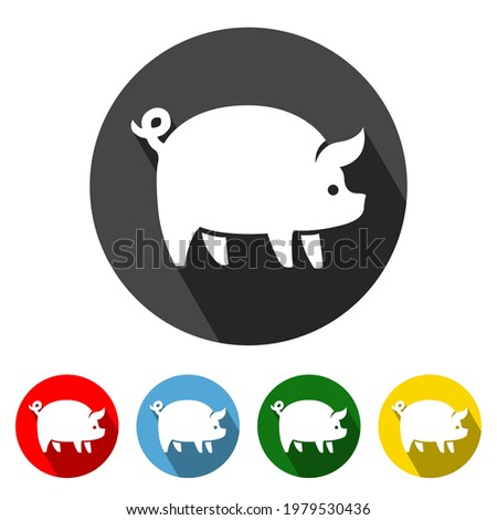 Pig Flat Icon Long Shadow. Pig icon vector illustration design element with four color variations. Pig Icon with Long Shadow. Pig Icon flat design. Vector illustration. All in a single layer.