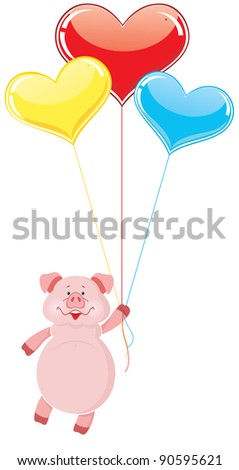 Pig flying on the balloons