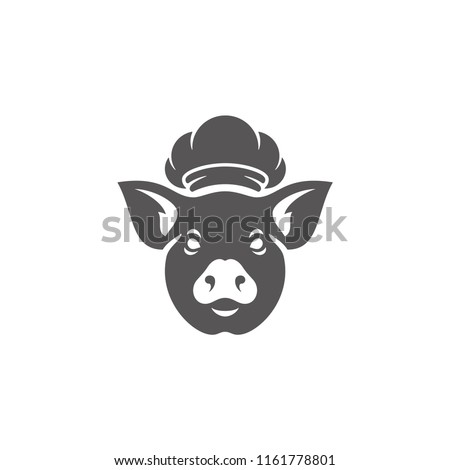 Pig head silhouette vector illustration. Farm animal or butcher shop graphics isolated on white background.