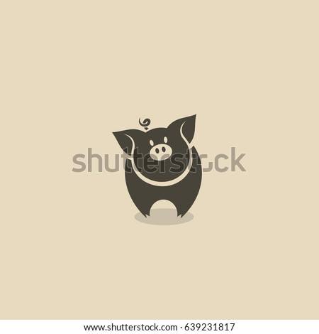 Pig icon - vector illustration